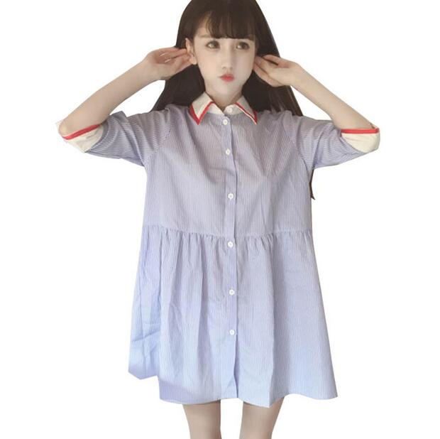 3ff21009e87 Spring And Summer Young Girl Women s loose Casual Lapel Half sleeve stripe dress  shirt one piece dress -in Dresses from Women s Clothing on Aliexpress.com  ...