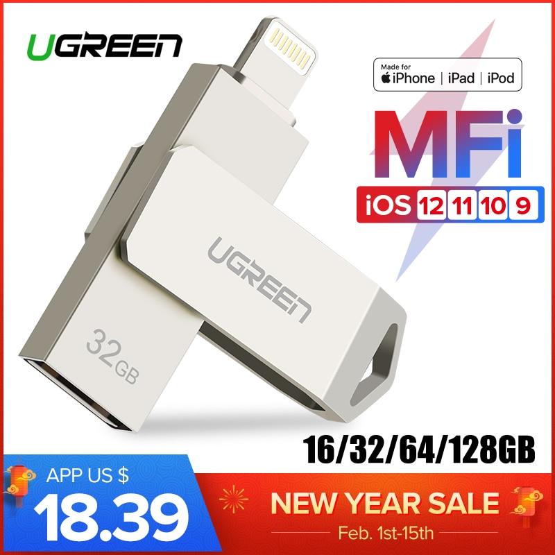 Ugreen USB Flash Drive USB Pendrive for iPhone Xs Max X 8 7 6 iPad 16/32/64/128 GB Memory Stick USB Key MFi Lightning Pen drive