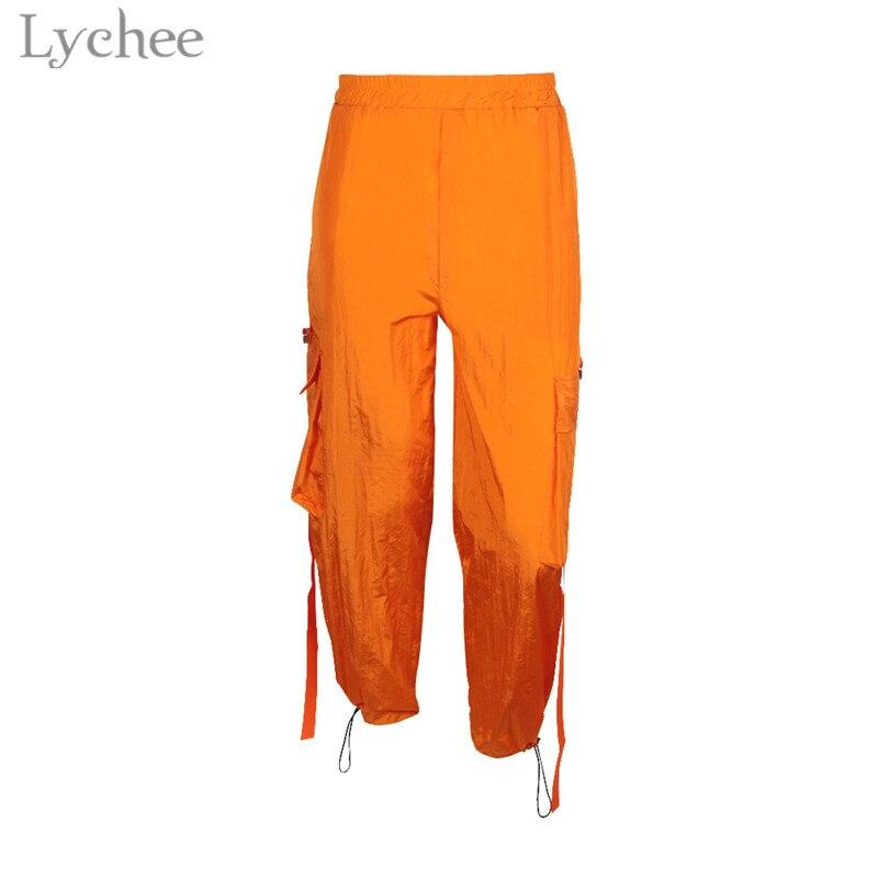 Lychee Harajuku Ribbon Pocket Women Cargo   Pants   Elastic Waist Casual Loose Harem Trousers Full Length   Wide     Leg     Pants
