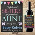 Custom Wine Champagne bottle Label The Best Friends Get Promoted to Auntie Wine Announcement Announcing Pregnancy to Family