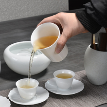 PINNY 250ml White Porcelain Fair Cups Chinese Ceramic Teacups Pigmented Kung Fu Tea Hand Made Cha Hai Chinaware