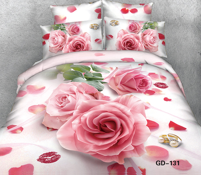 Superior 3D Lips Pink Rose Bedding Set Super King Size Queen 100% Cotton Bed Sheets  Fitted