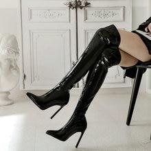 Botas por encima de la rodilla de charol elásticas sexys para mujer, botas de tacón alto hasta el muslo extremo, botas de fiesta de invierno con punta estrecha, color negro y rojo