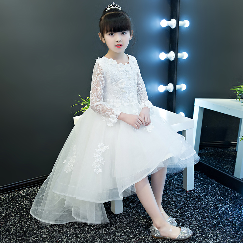 Childrens clothing girls dress summer spring princess white lace flowers long tail wedding kids dresses for girls free shippingChildrens clothing girls dress summer spring princess white lace flowers long tail wedding kids dresses for girls free shipping