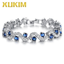 Xukim Jewelry AAA Cubic Zirconia Silver Color Copper Blue Green Glass Stone Trendy Women Bracelet Bangle Jewelry Gift(China)