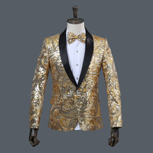 Clothes Casual Mens Pink Gold Flower Sequins Fancy Wedding Singer Stage Performance Suit Jacket Annual DJ Blazer With Bow Tie new black men s blazers suit long sleeve gold appliques stage singer performance costume include jacket vest tie