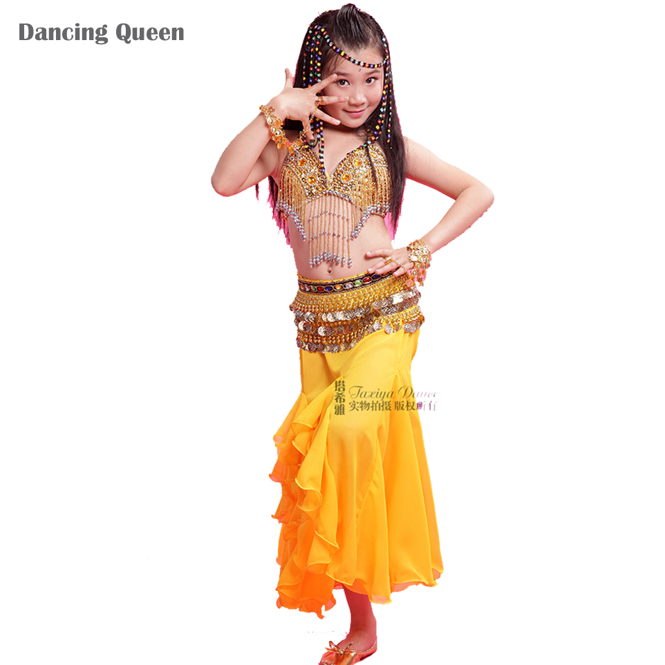 Girl Bollywood Dance Costumes BraSkirtWaist Chain Children Belly Dance Costume Set Rose/Yellow/Red