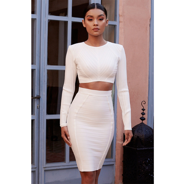 53b705a3 New Arrivals 2017 Autumn White Two Piece Set Bandage Dress Winter Long  Sleeve Fashion Women Bodycon O-Neck Ribbed Party Dresses