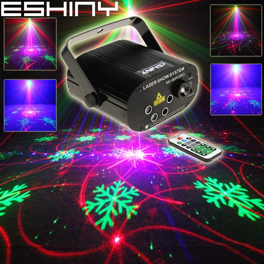 ESHINY Mini RGB Laser 128 Patterns Projector Blue Led Club Home Party Bar DJ Disco Xmas