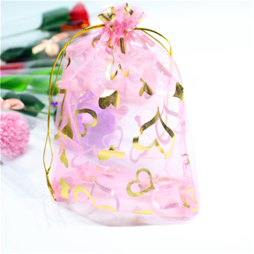 100 Pcs/Lot 7x9cm Heart Drawstring Organza Gift Pouches Jewelry Bag Wedding Christmas Favor Gifts Storage Bags & Pouches