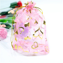 100 Pcs/Lot 7x9cm Heart Drawstring Organza Gift Pouches Jewelry Bag Wedding Christmas Favor Gifts Storage Bags &