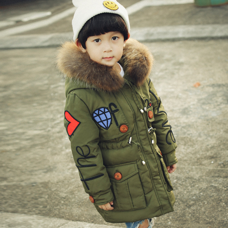 Boys Down Jackets For Kids Snowsuit Girls Winter Coat Love Embroidery Children's Parkas Thicken Jacket For Girl Snow Wear 3-10Y 2016 winter boys ski suit set children s snowsuit for baby girl snow overalls ntural fur down jackets trousers clothing sets