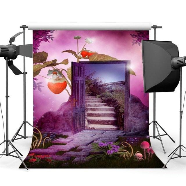 Fotografia tło marzycielski świat bajki kwitnące kwiaty trawa pole Bokeh truskawka magiczne drzwi tło