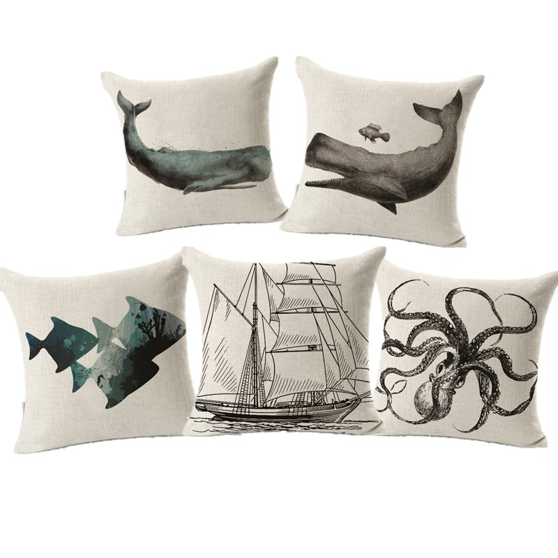 Nordic Style Sea Animal Octopus Cushion Cover Pillowcase Cotton Linen Chair Seat Square pillows Home Garden chair use Textile