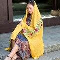 Cachecol de inverno para As Mulheres Moda Cotton Linen Mistura Cobertor Cachecol Marca De Luxo Bordado Hajabs Lenços Echarpes Femme Amarelo