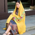 Winter Scarf for Women Fashion Cotton Linen Blend Blanket Scarf Luxury Brand Embroidery Hajabs Echarpes Foulards Femme Yellow