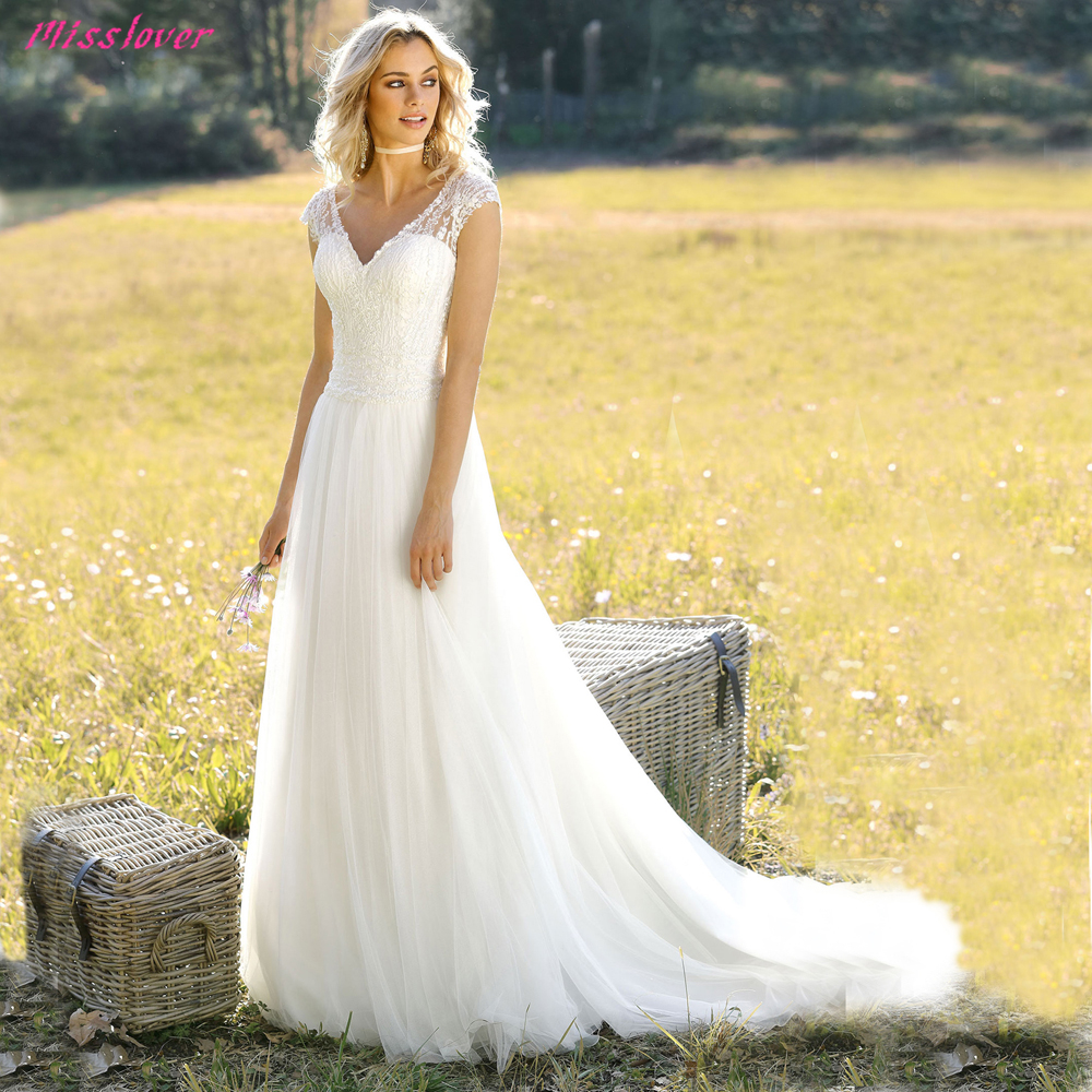Robe de mariee Sexy Illusion V neck Backless lace Wedding Dress 2019 new Beach Bridal Gown