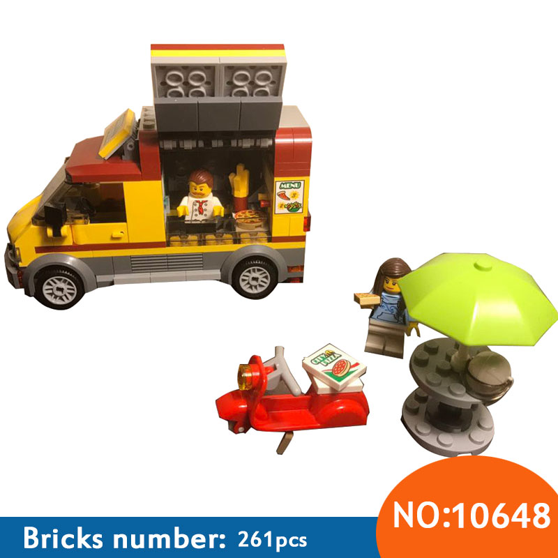10648 261Pcs City Figures Pizza Van Model Building Kits Blocks DIY Bricks Toys For Children Gift Compatible With 60150 10646 160pcs city figures fishing boat model building kits blocks diy bricks toys for children gift compatible 60147