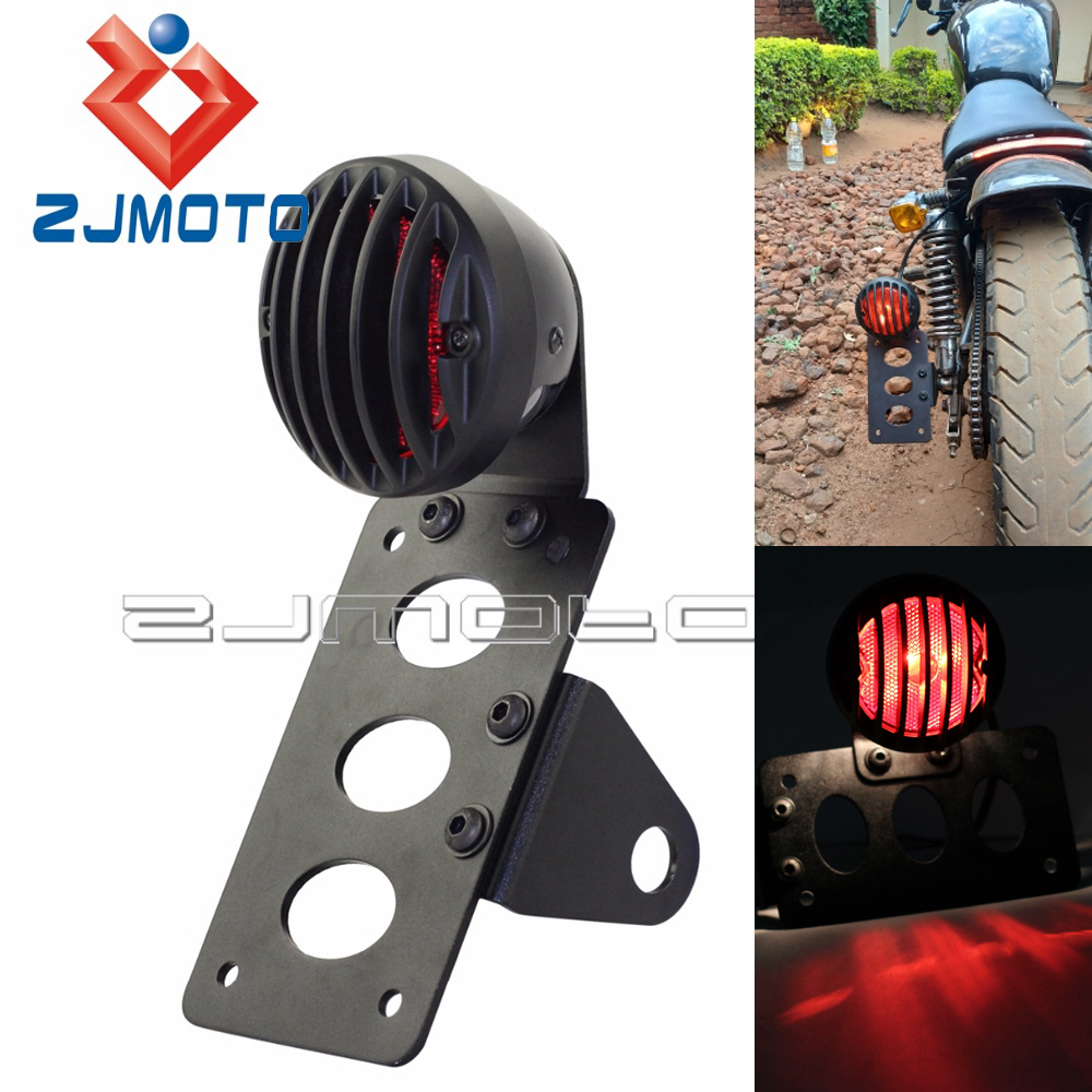 Black Motorcycle Side Mount Tail Light Taillight W/ License Plate Bracket Stop Lamp For Harley Sportsters Bobber Chopper