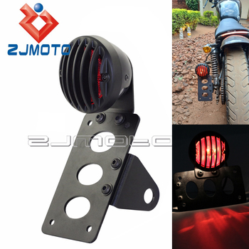 Black Motorcycle Side Mount Tail Light Taillight w/ License Plate Bracket Stop Lamp For Harley Sportsters Bobber Chopper motorcycle accessories retro red rear tail brake stop light lamp license plate mount for harley honda suzuki chopper bobber
