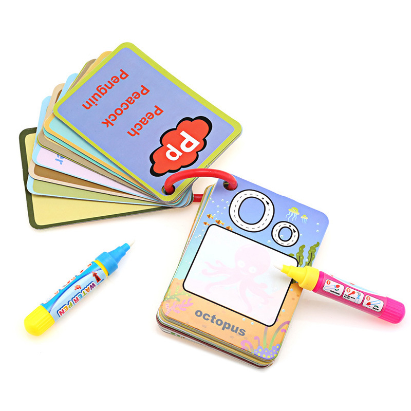 Water Flash Card Alphabet Number Shape Color Version Early Education Toy