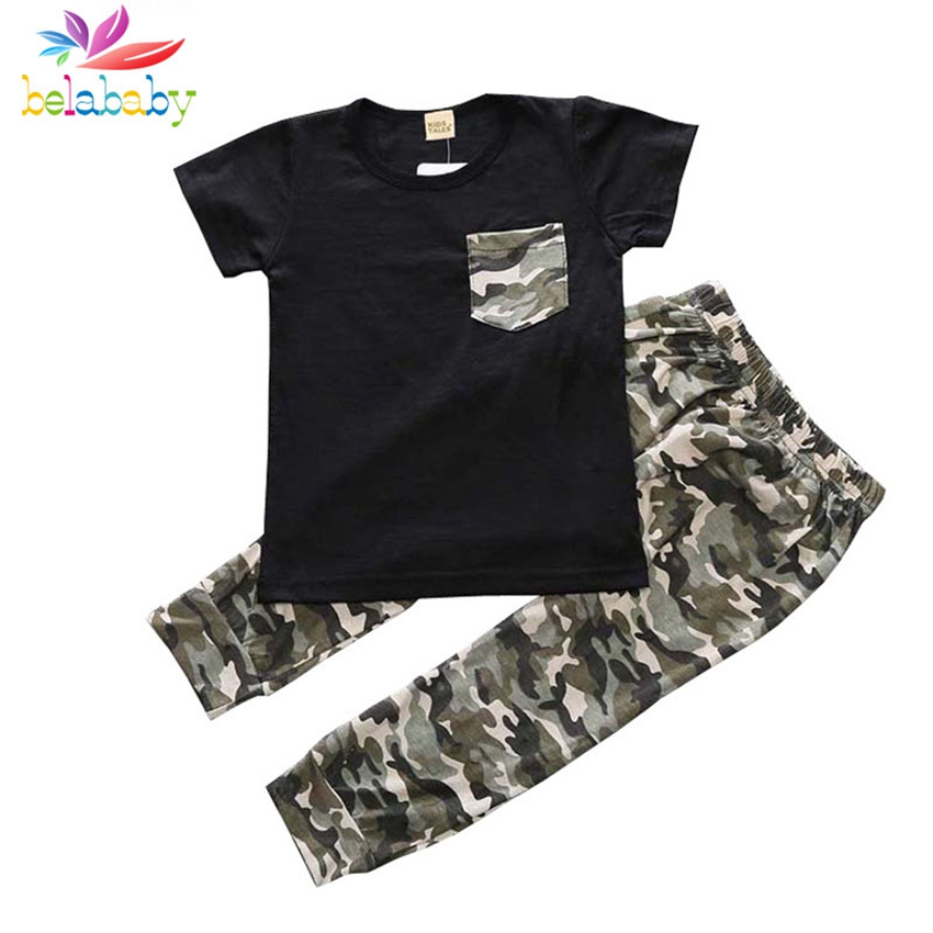 Belababy Baby Boy Clothes Camouflage Print T-shirt+Pants Newborn Baby Boys Clothing Set Infant Outfits Childrens Clothing
