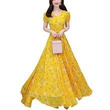 715415fe1 كوريا الأزياء جديد الأصفر الشيفون بوهو الشاطئ اللباس النساء 2019 الصيف  الزهور طباعة الخامس الرقبة قصيرة الأكمام كبير سوينغ فساتي.