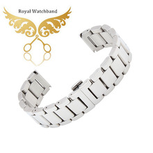 18mm 20mm 22mm 24mm Silver Stainless Steel Watch Band Double Push Buckle Clasps Strap Bracelet For