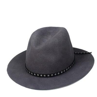 Новая модная женская мужская шерстяная шляпа fedora фетровая Панама женская элегантная мягкая Шляпа Дерби мягкая фетровая шляпа с кожаным брендом - Цвет: Gray