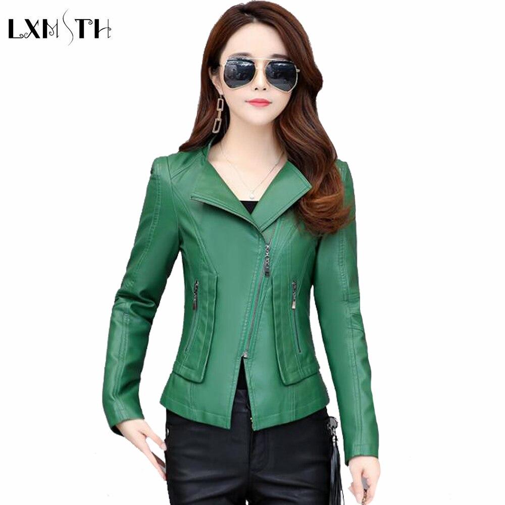 LXMSTH Faux   Leather   Jackets for Women Spring Autumn Plus Size Zipper Short Pu Biker   Leather   Jacket Female Green Orange Black