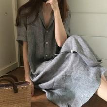 Summer Short Sleeve Striped Casual Dress Women Loose Cotton Linen Button Long Dress Plus Size plus knot front button through striped cami dress