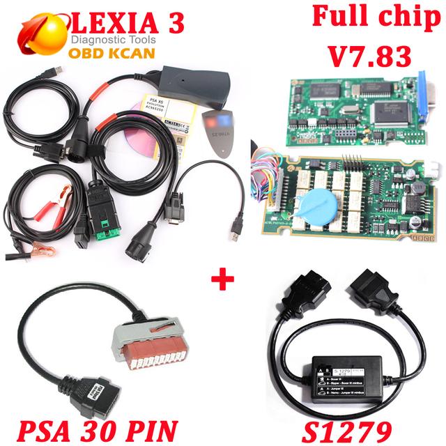V7.83 chip con 921815C firmware completo Lexia3 Lexia 3 V48 herramienta de diagnóstico Lexia-3 PP2000 V25 Con Diagbox + S1279 + PSA 30 pin cable