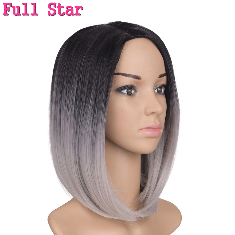 Full Star Middle Part 12inch Japanese High Temperature Fiber Synthetic Short Ombre Black Blonde Color Bob Wig For Women