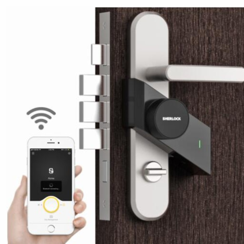 Image 2 - Sherlock lock S2 Bluetooth phone app update control Smart lock Keyless support remote key Electronic Door lock Silver/black S2-in Electric Lock from Security & Protection