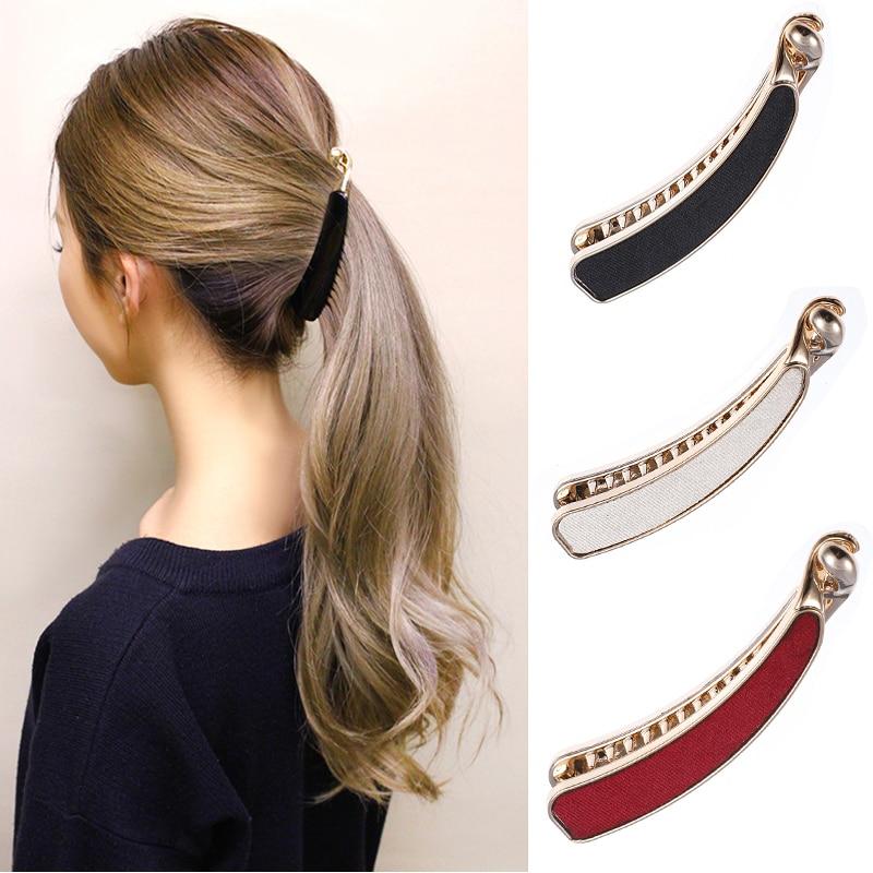 M MISM 1PC Solid Cloth Hairpins Girl Banana Barrettes Clip Korean Style For Elegant Female With Teeth Hair Clip Hair Accessories