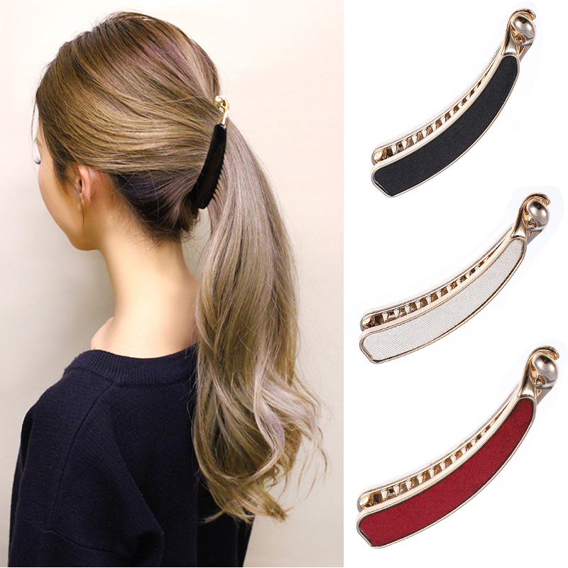 M MISM 1PC Solid Cloth Hairpins Girl Banana Barrettes Clip Korean Style for Elegant Female with Teeth Hair Clip Hair Accessories(China)