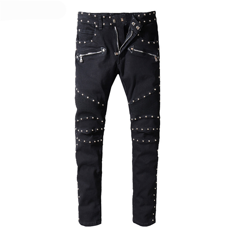 KIMSERE Men Hi Street Biker Jean Pants With Rivets Fashion Streetwear Motorcycle Denim Trousers Punk Style Brand Designer