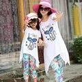 2016 família set roupas para a mãe e filha de verão gato dos desenhos animados clothing conjuntos terno pai-filho de verão da família roupas terno