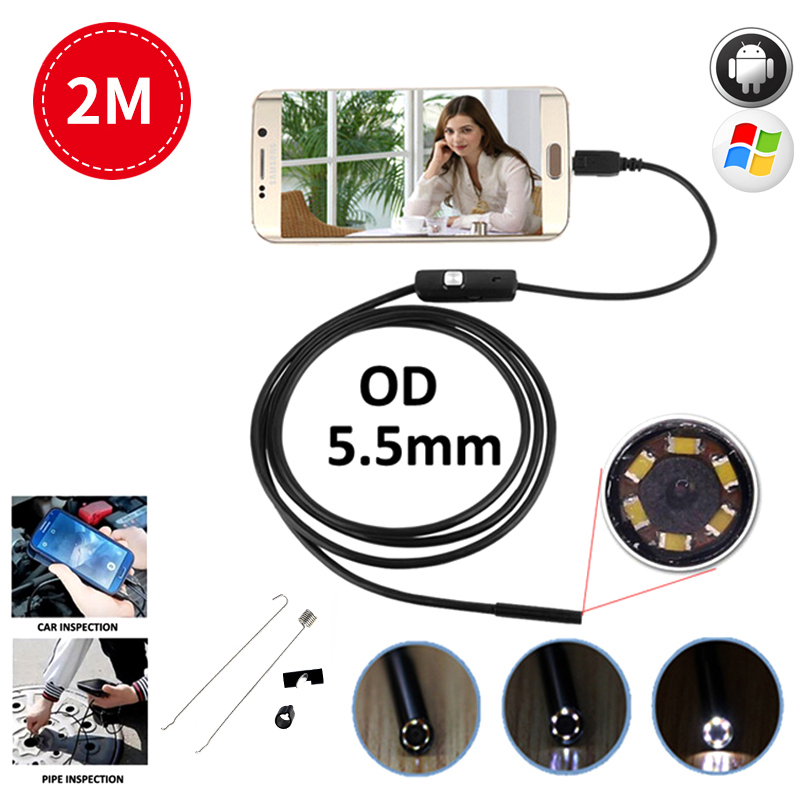 Wistino Android USB Endoscope Camera 5.5mm Endoscope OTG USB Phone Borescope Waterproof Endoscopio Cable Pipe Tube USB Snake headset bullet usb otg compatible android smartphones digital camera