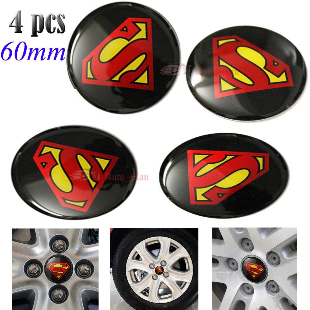 4pcs 60mm Superman Logo Car Auto Motorcycle Steering Wheel Center Hub Cap Emblem Badge Decal Symbol Stickers Universal emblem