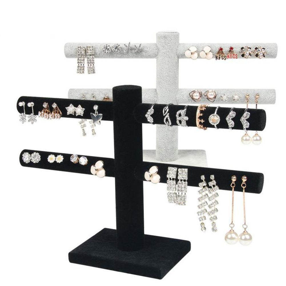2 Tier T-Bar Chic Velvet Jewelry Stand Earrings Necklaces Organizer Display Holder