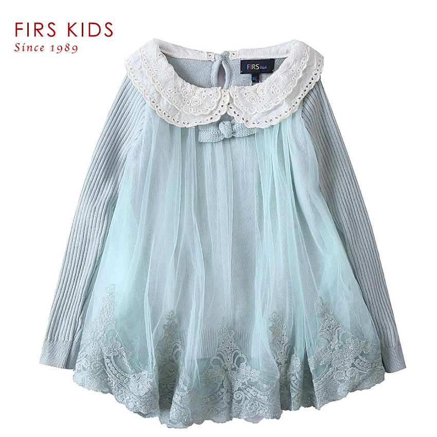 FIRS children sweater girls Knitted Sweater Dress Pullovers Sweaters With Lace Shrugs Dresses Crochet Long Girls sweater Kids-30