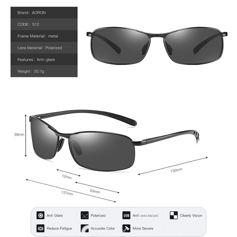 AORON Mens Polarized Sunglasses Men Classic Rectangle Sun Glasses Aluminum Leg UV400 Sunglasses Mirror Eyewear 4