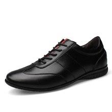 Véritable Cuir Hommes Chaussures Casual Doux Hommes Casual Chaussures à Lacets Noir Blanc