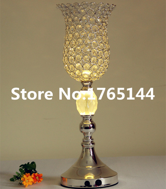 Tall Crystal Glass Beads Flower Vase Wedding Centerpieces Pots Table