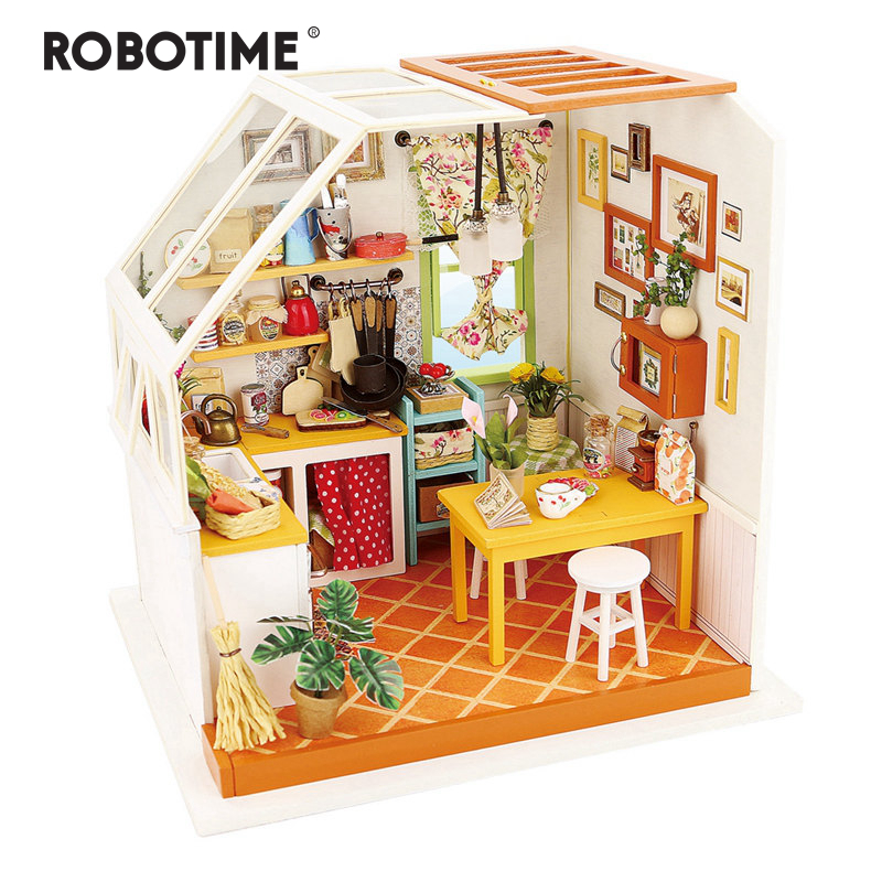 Robotime DIY Jason's Kitchen With Furniture Children Adult Miniature Wooden Doll House Model Building Dollhouse Toys DG105