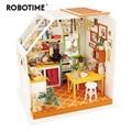 Robotime DIY Jason's Kitchen with Furniture Children Adult Miniature Wooden Doll House Model Building Dollhouse Toys DG105