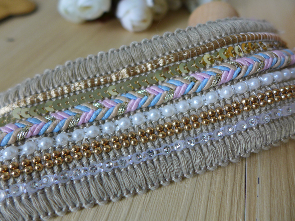 New Fashion Multi-Color Braided Lace Trim, Crystal Rhinestone Lace Ribbon, Sewing Accessories Home Decor Costume Design 3 Yard image