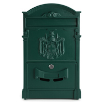 LOCKABLE SECURE POSTBOX LETTERBOX WALL MOUNTED STAINLESS MAIL POST LETTER BOX Model Green