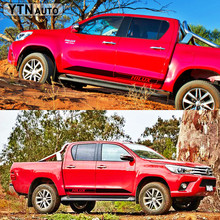car stickers 2pc racing side door stripe graphic Vinyl accessories decals sticker custom for TOYOTA HILUX